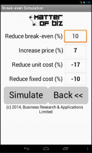 Android app for calculating the break-even point